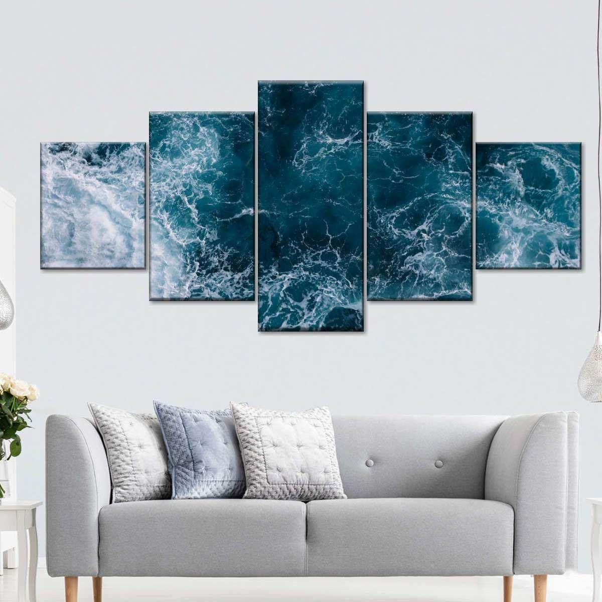 Blue Ocean Waves Multi Panel Canvas Wall Art Wall Canvas Canvas Wall Art Ocean Wall Art