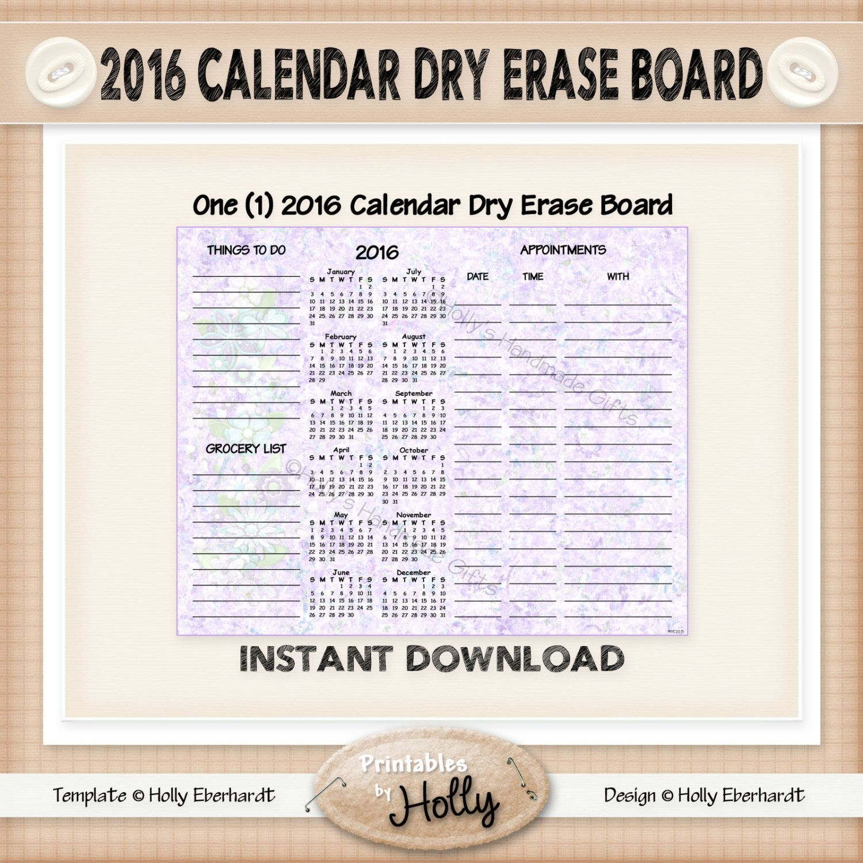 Calendar Dry Erase Board
