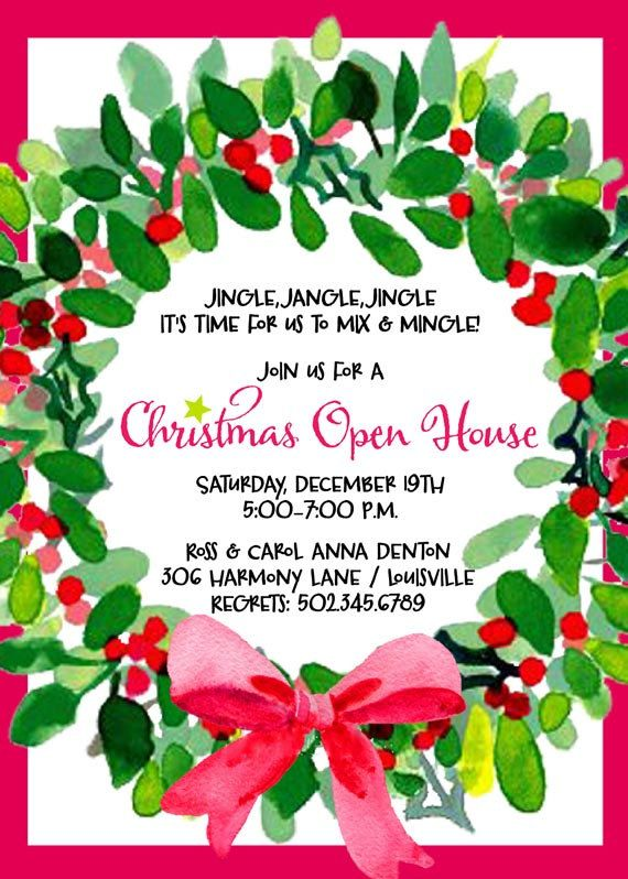 Open House Christmas Party Ideas Part - 19: Christmas Party Invitation, Holiday Party Invitation, Holiday Open House  Invitation, Christmas Wreath Invitation