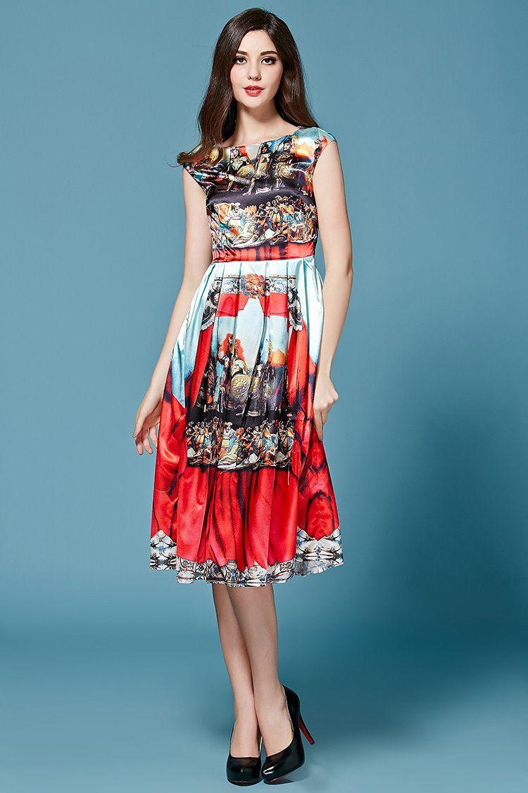 Satin brocade noble printing dress shops womenus dresses and dresses