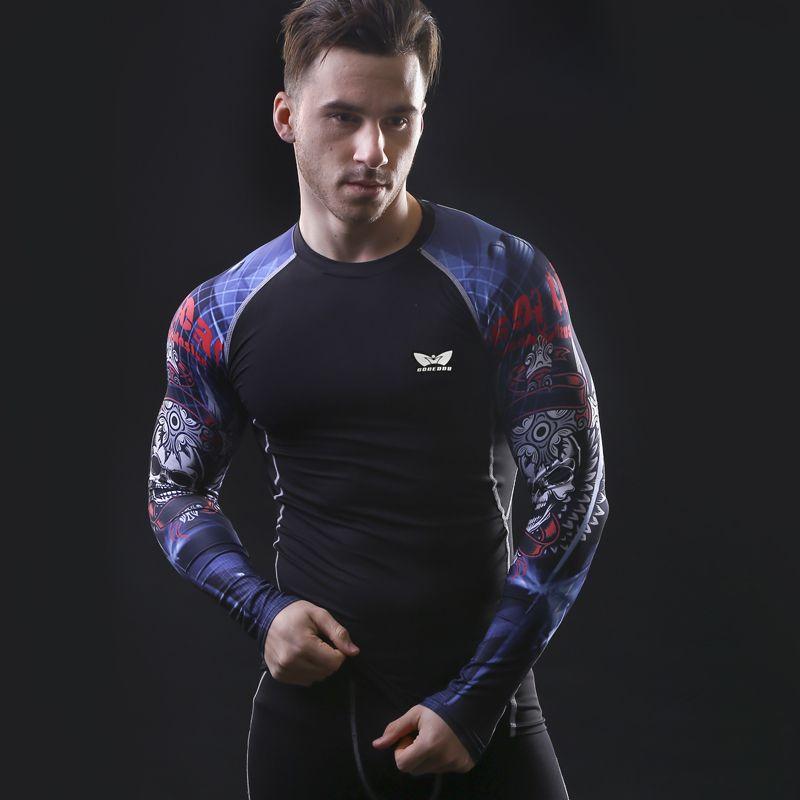 근육 남성 압축 꽉 skin 셔츠 긴 소매 3d 인쇄 rashguard 피트니스 기본 레이어 무게 리프팅 남성 탑스