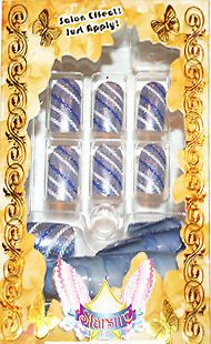 Starsire Silver Blue Chain Stripe Lines Japan Acrylic Fake 24 Shiny Full Nails #Starsire #AcrylicNailsTips