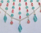 Handmade Cascading Necklace / Bib Necklace / Peach and Aqua Necklace