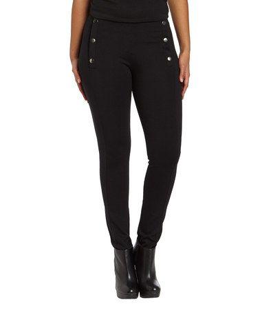 Loving this Black Button High-Waist Pants - Women on #zulily! #zulilyfinds