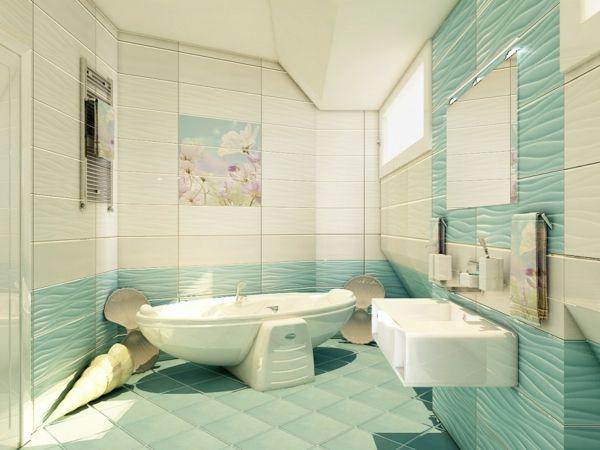 Vorschläge Badezimmergestaltung ~ Fliesengestaltung bad meeresthematik frisch badezimmer ideen