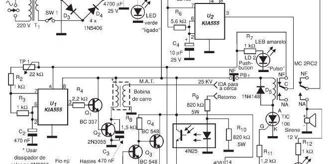 circuito de cerca el u00e9trica com alarme de corte