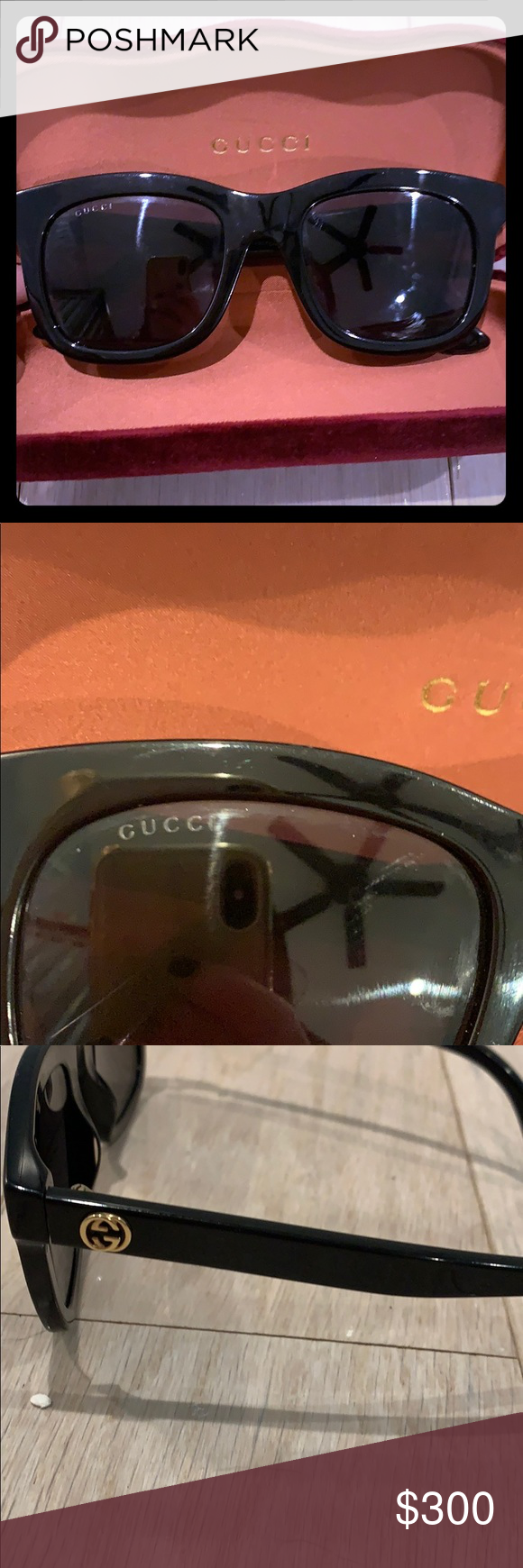 Gucci women's sunglasses Gucci women's rectangle sunglasses with gold Gucci symbol  52mm lens 100% UV protection  Made in Italy Gucci style number GG0326 Comes with maroon velvet case  Cleaning cloth  Authenticity certificate card  Tag not attached  Purchased from Nordstrom (can provide picture of order upon request) Gucci Accessories Sunglasses