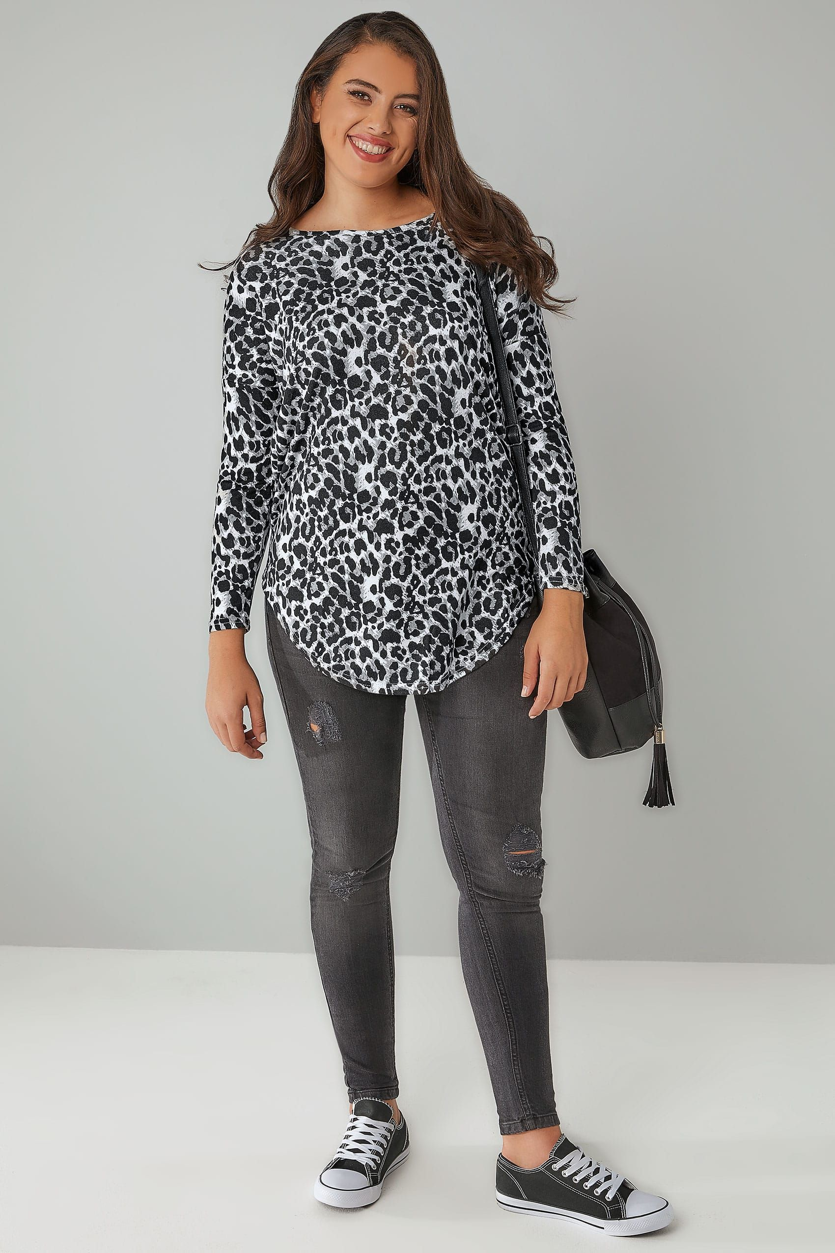 80a54826e28b Grey Animal Print Brushed Fine Knit Top With a Zip Up Back | Capsule ...