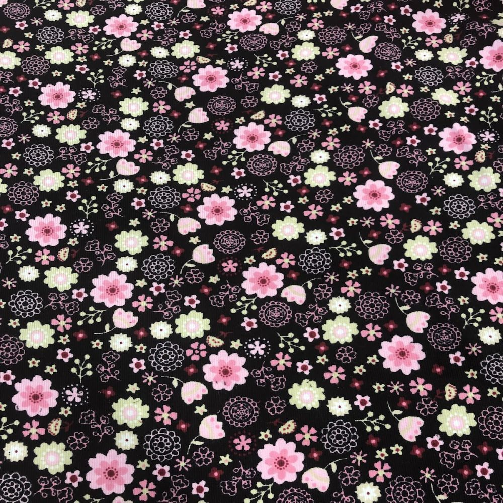 Floral fabric cord pink background