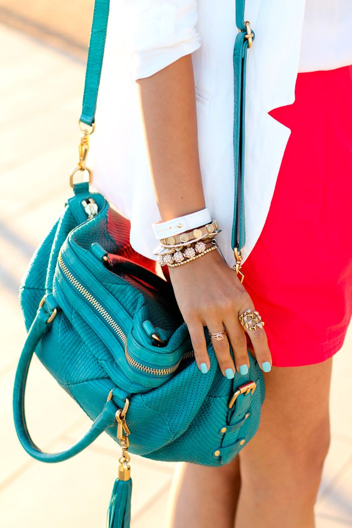 Rebecca minkoff bag, white blazer, turquoise nails