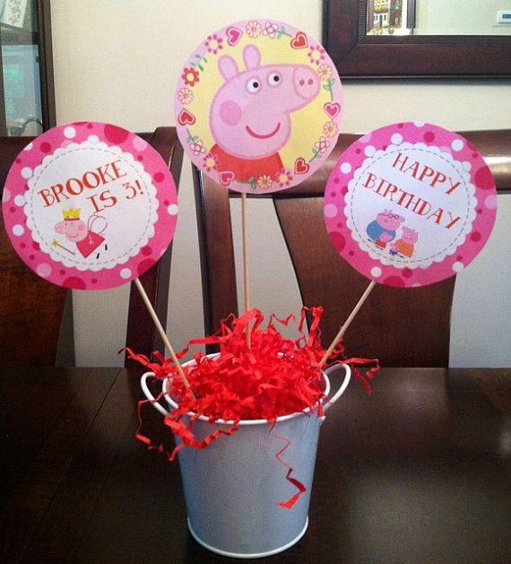 Peppa Pig Birthday Party Centerpiece Picks Peppa Pig Decorations Peppa Pig Centerpieces Peppa Pig Table Decor