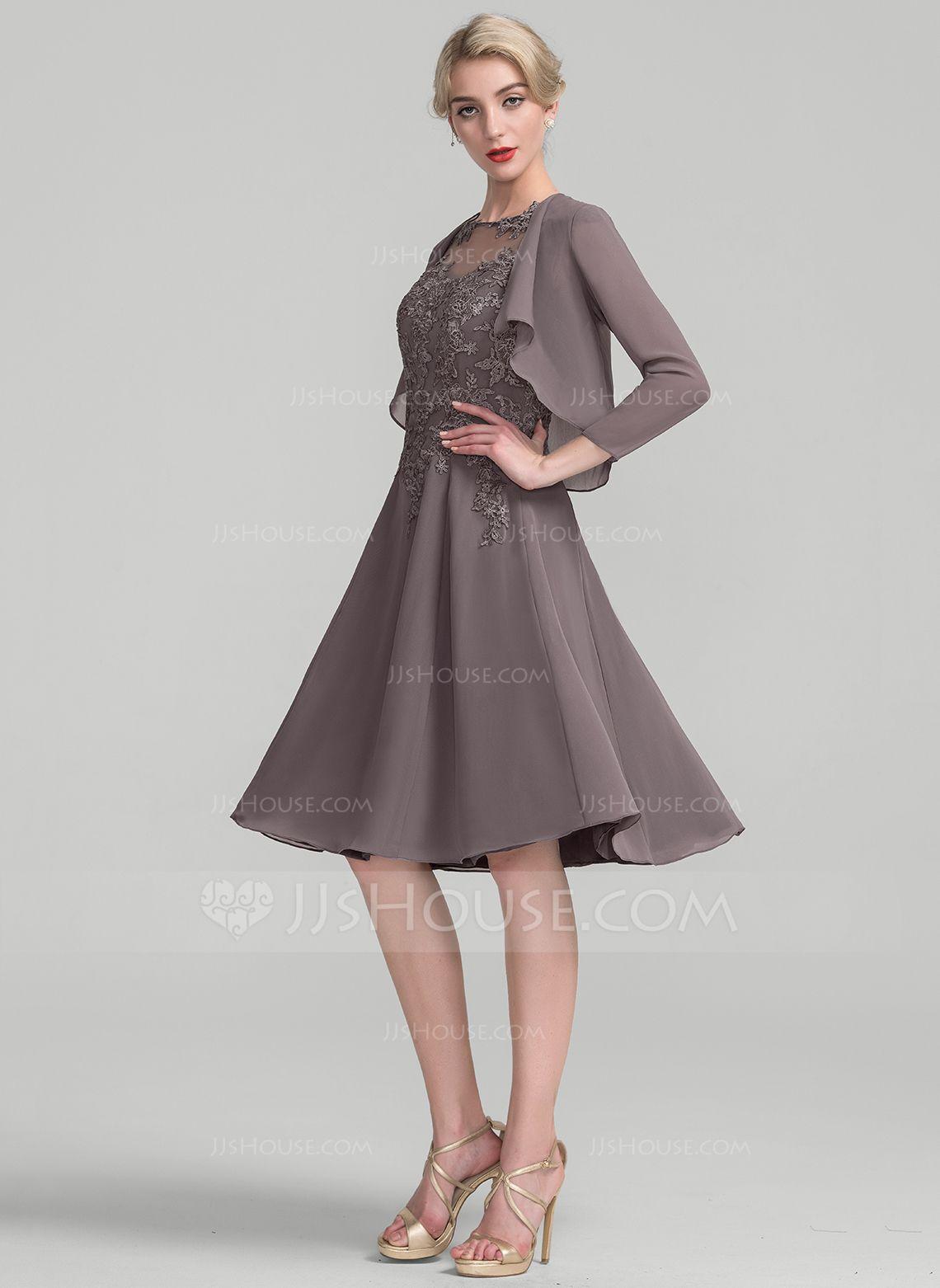 US$ 14.14] A-Line/Princess Scoop Neck Knee-Length Chiffon Lace