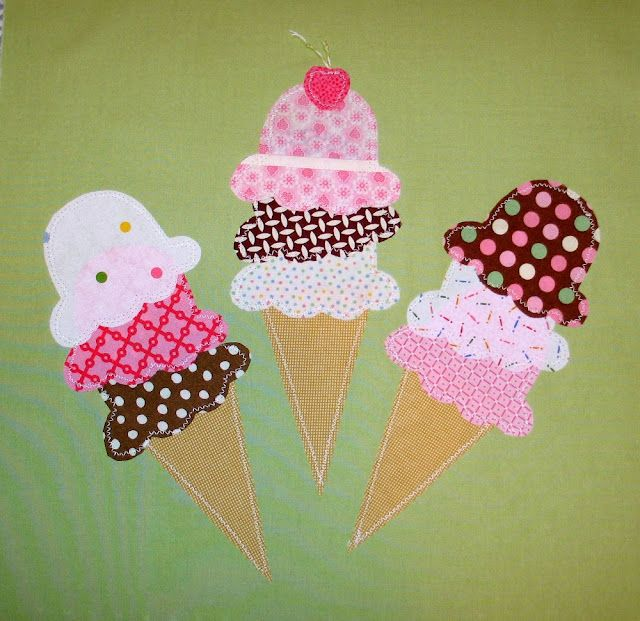 Ice Cream Cones...maybe a family 'cone'quilt...embroidery...each original child (& spouse) a cone w/kid scoops...maybe grandparents as ???
