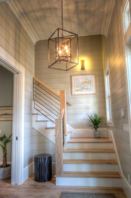 Modern Farmhouse Staircase   Foyer lighting fixtures ...