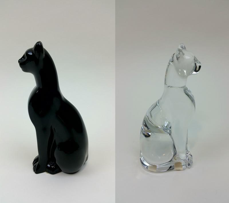 BACCARAT CRYSTAL BLACK CAT figurine, signed, Retired - $99