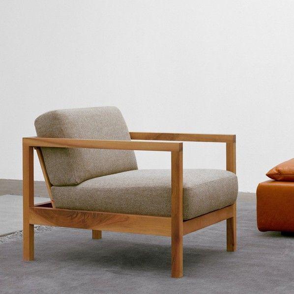 Nordic leisure chair modern minimalist wood frame single ...
