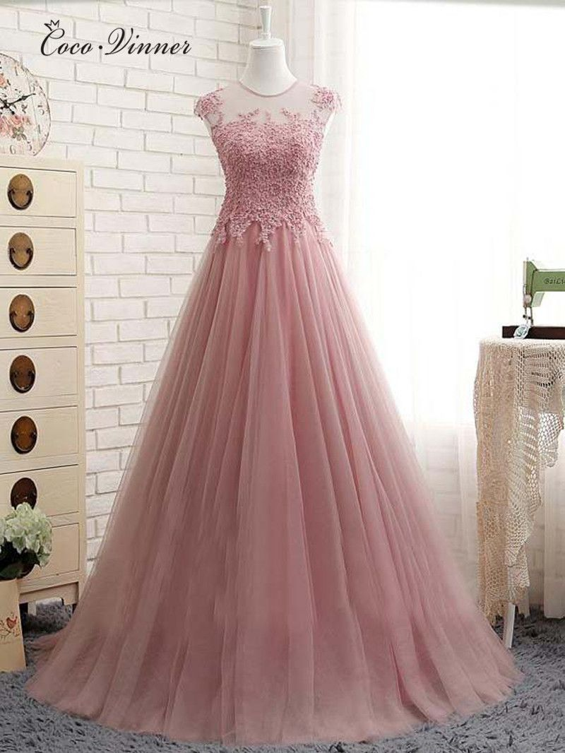 Click to buy ucuc cv short sleeve tulle long evening dresses new