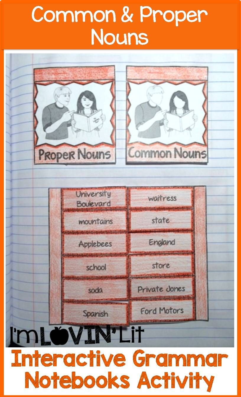 common  u0026 proper nouns interactive notebook activity