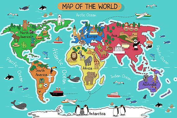 Children\'s World Map Wallpaper Animal Wall Decal Art Children\'s Room ...