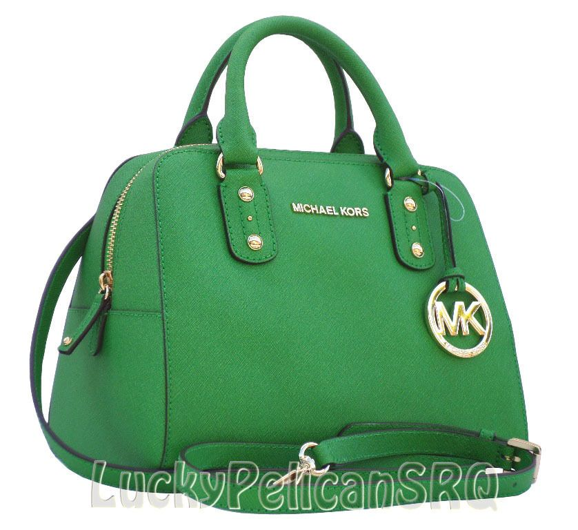 MICHAEL Michael Kors Small Saffiano Green Palm Satchel Bag Purse ...