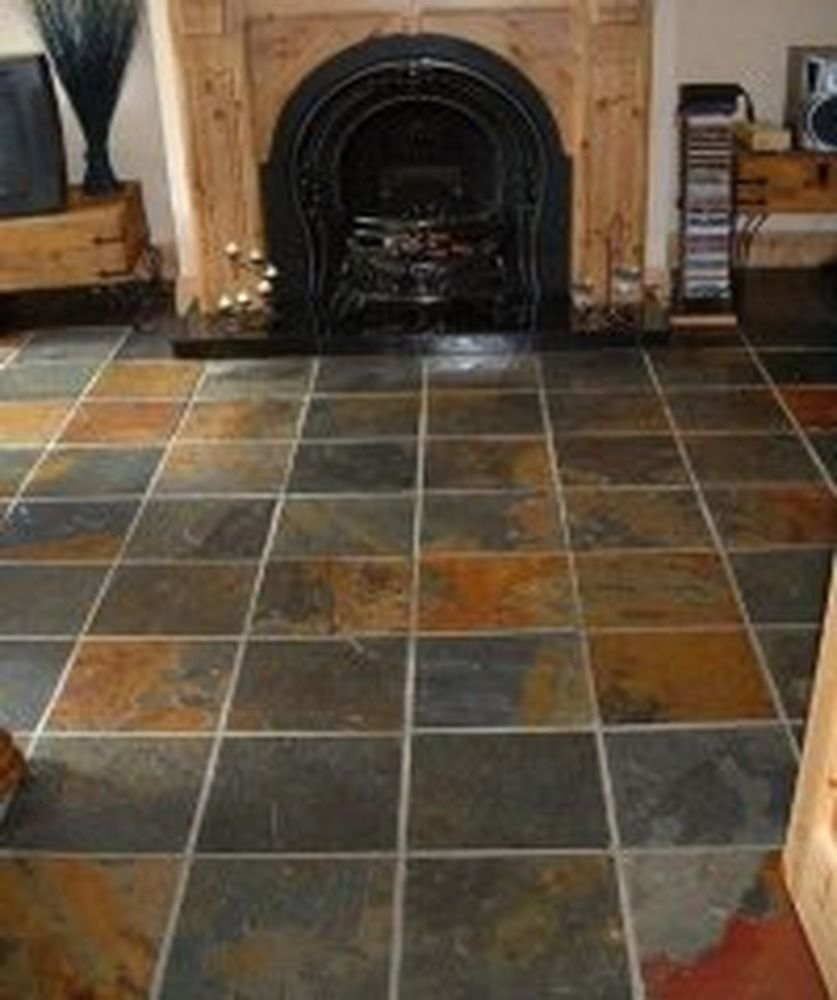 Medium-sized square slate tiling laid in living room. Make your home ...