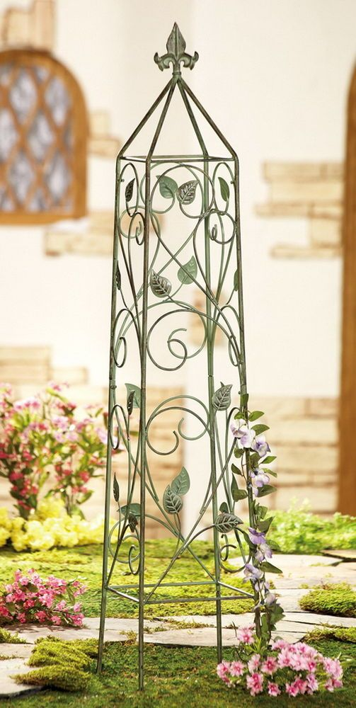 New 40 tall garden plant trellis climbing vine metal for Metal garden trellis designs