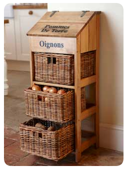 Genial Vegetable, Potato, Onion Storage Using Wicker Drawers