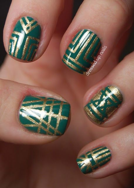 Emerald and gold art deco striping tape nail art nails emerald and gold art deco striping tape nail art prinsesfo Images