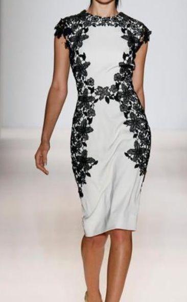 Beautiful Lela Rose lace detailed dress #nyfw #lfw