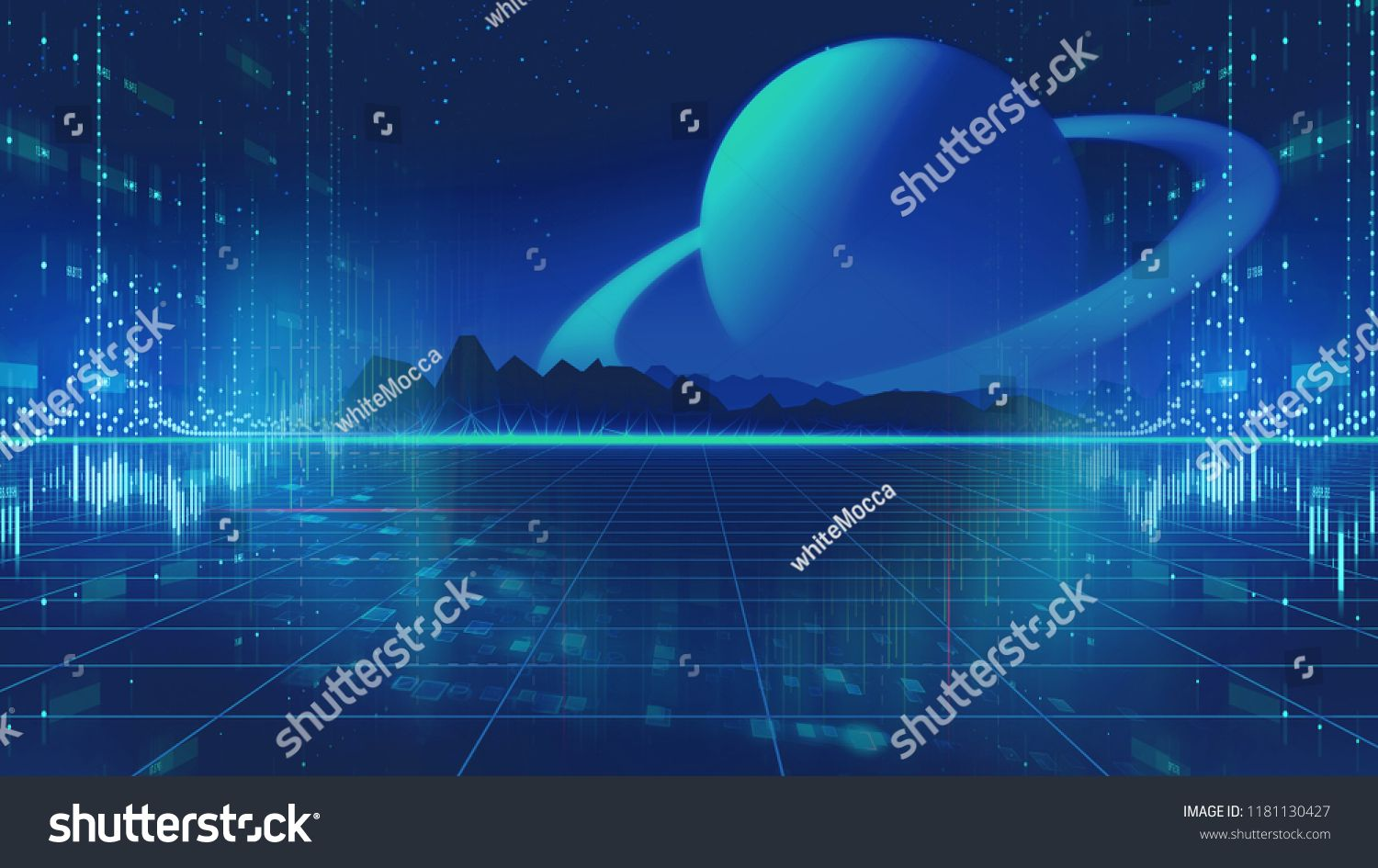 Retro Futuristic Background 1980s Style 3d Illustration Digital Landscape In A Cyber World For Use A Futuristic Background Music Album Cover Retro Futuristic
