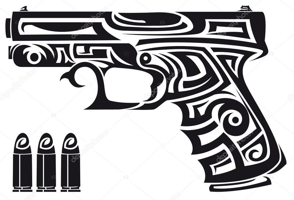 Pin On Gun Tattoo Stencils
