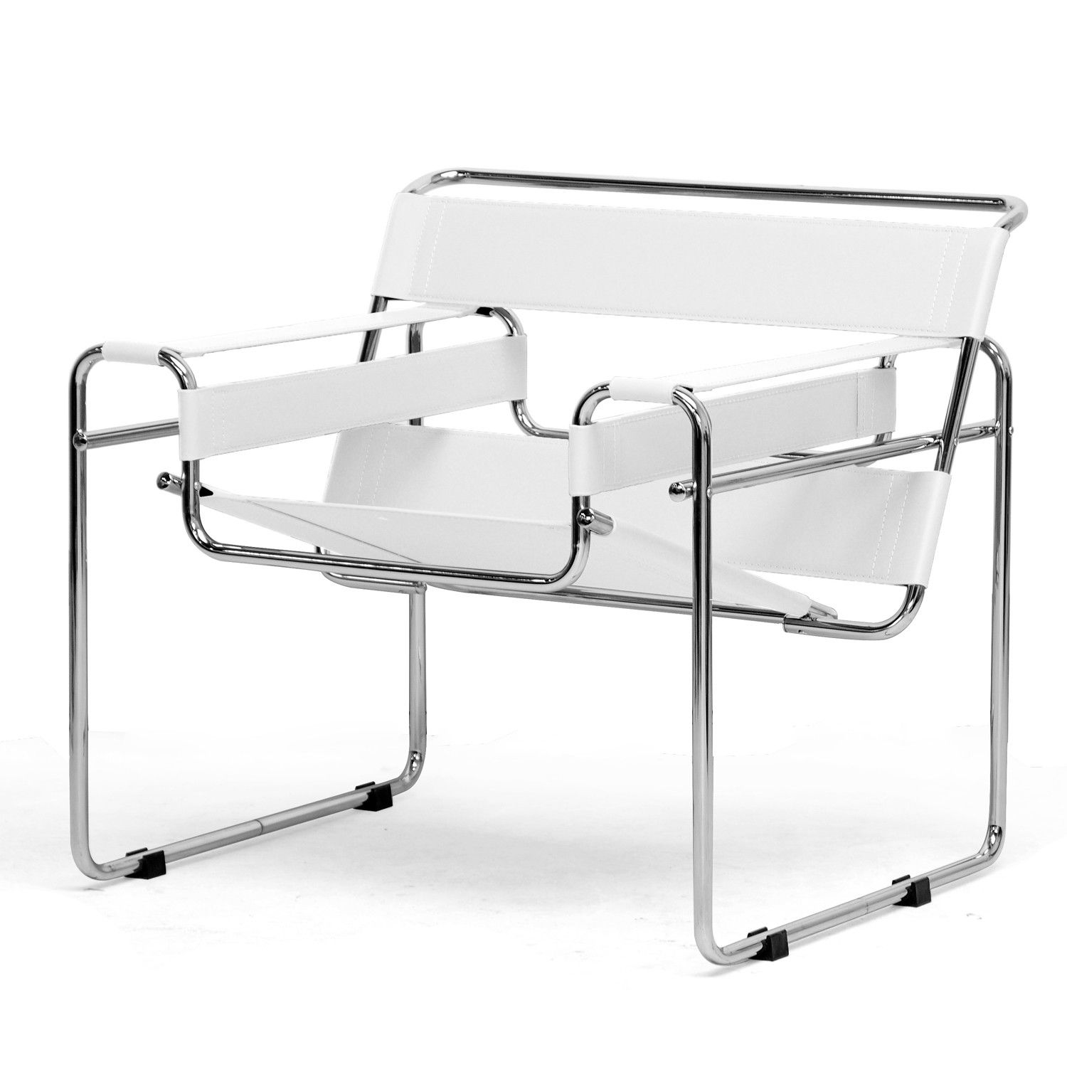 Somnus Bonded Leather Mid Century Modern Accent Chair White