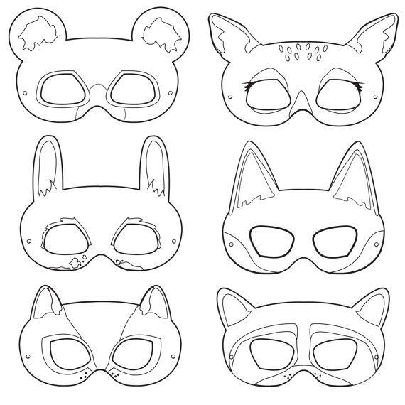 Woodland Forest Animals Coloring Masks, woodland animal