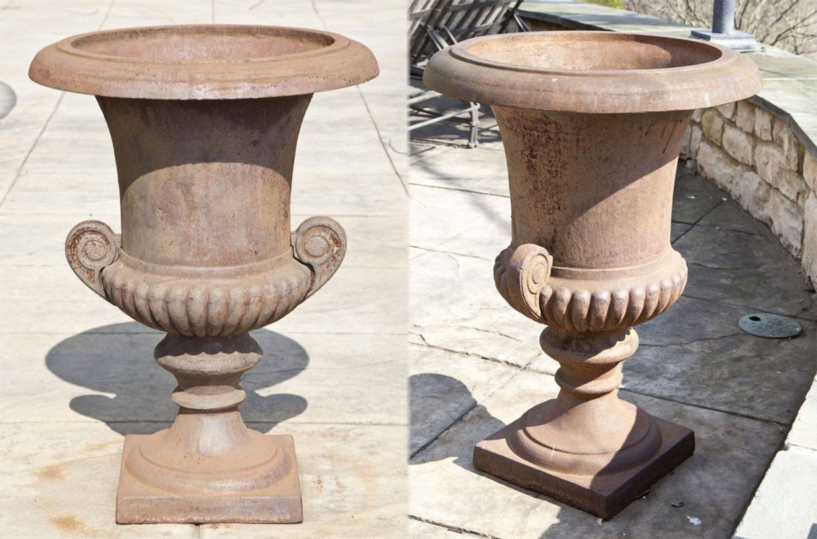 Pair Of Large Iron Urns By Eschbach Urn Iron Cast Iron