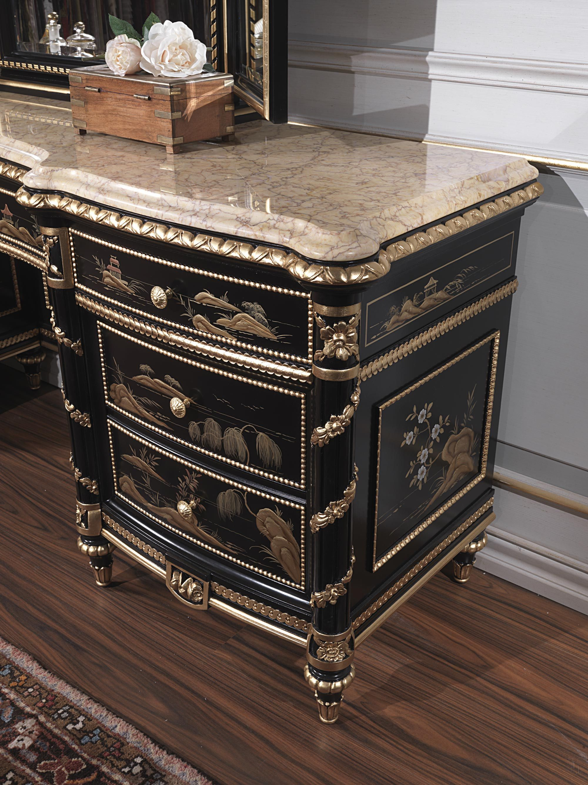 Classic Dressing Table Made In Italy Of The Chinoiserie Collection:  Realized In The Chinese Style