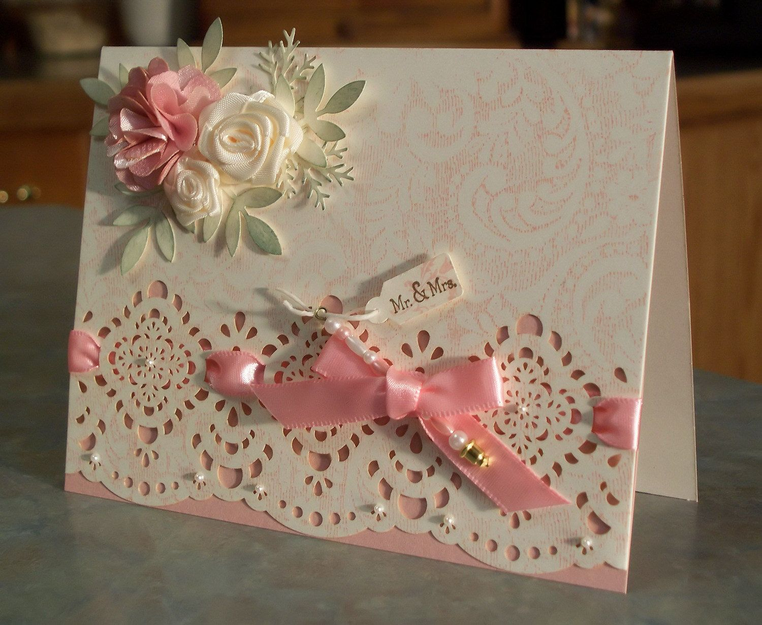 Handmade Wedding Card With Satin Ribbon Flowers Handmade Wedding