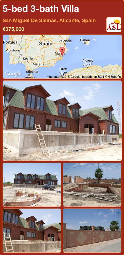5-bed 3-bath Villa in San Miguel De Salinas, Alicante, Spain ►€375,000 #PropertyForSaleInSpain