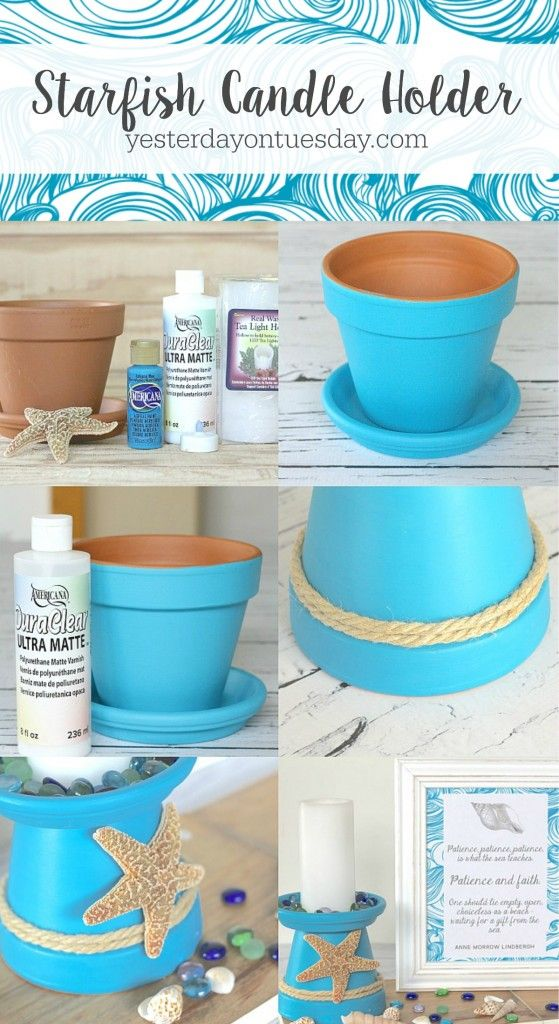 How to diy a starfish candle holder out of a flower pot a for Diy candle crafts