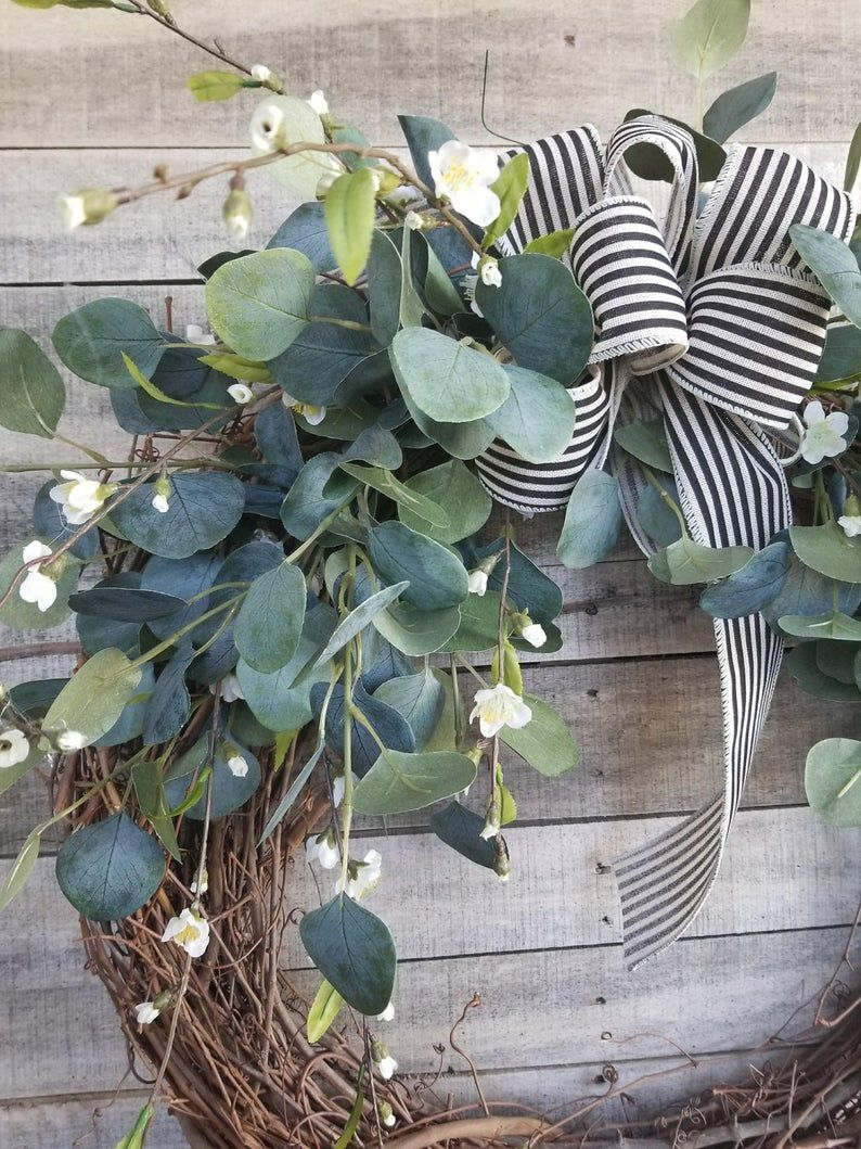 """Photo of 22 """"eucalyptus wreath with a hint of small white floral wreath for the whole year – everyday burlap wreath, door wreath, wedding wreath"""
