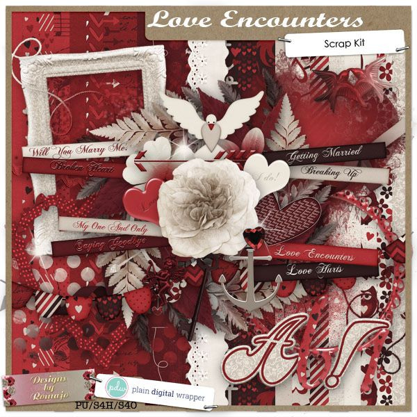 Love Encounters #plaindigitalwrapper #pdw #digitalkit #scrapbookkit #scrapbook #digitalscrapbook #designsbyromajo