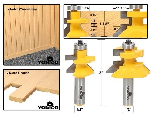 Yonico 15227 Matched Tongue And Groove V Notch Router Bit Set 1 2 Inch Shank Router Bits Router Bit Set Router