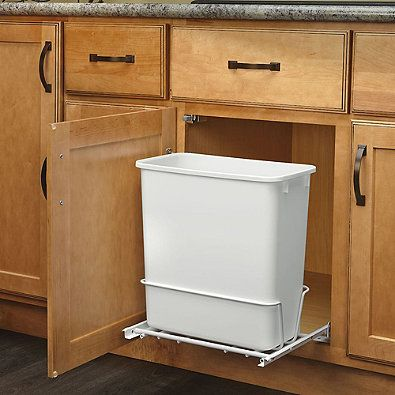 Rev A Shelf Rv 814pb Single 20 Qt Pull Out White Waste Container With Adjustable Frame Bed Bath Beyond Pull Out Trash Cans Trash Can Kitchen Trash Cans