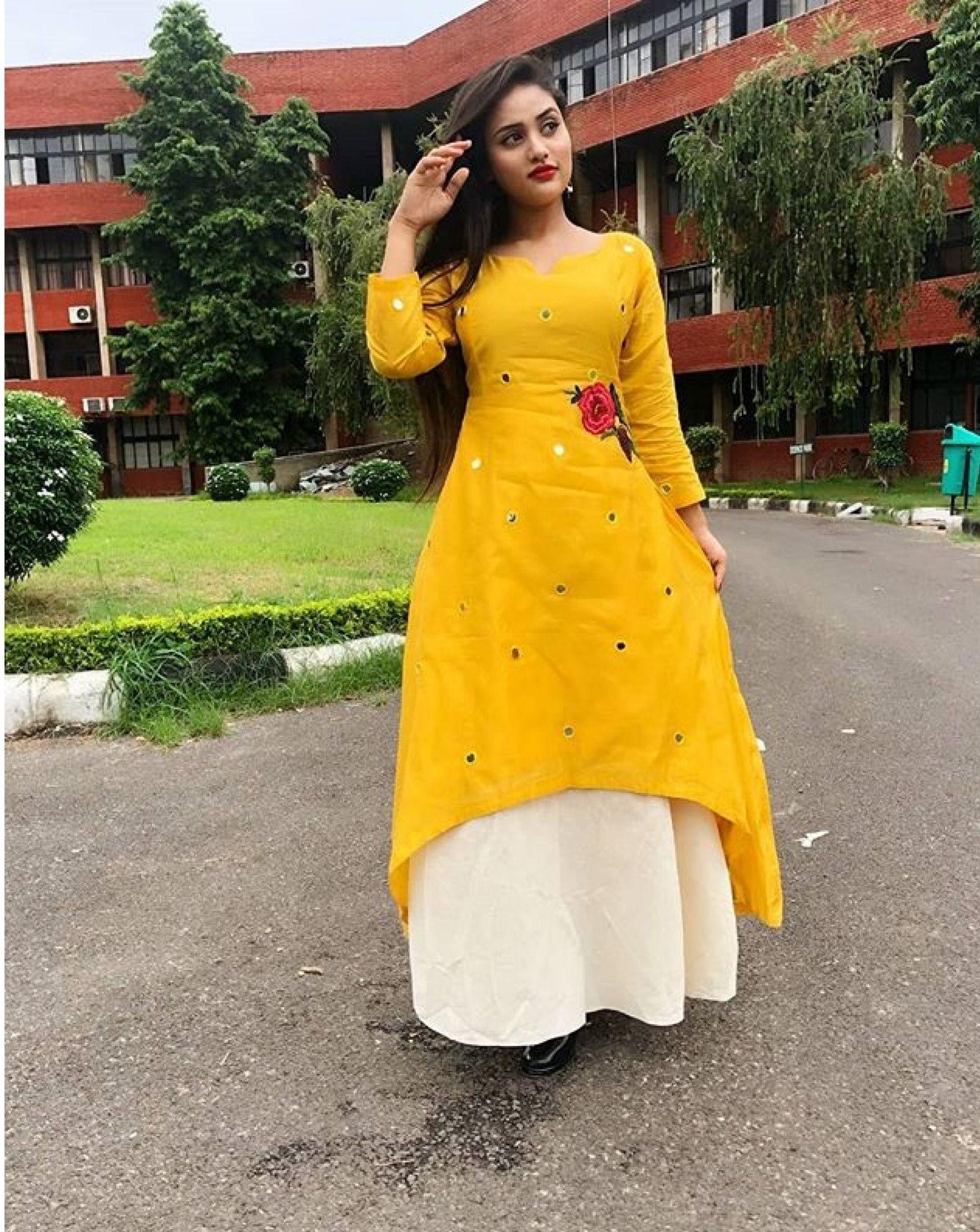 Pure Rayon Skirt Rose Mirror Print Kurti Yellow White Rose Print Skirt Rayon Skirt Kurti Designs Party Wear