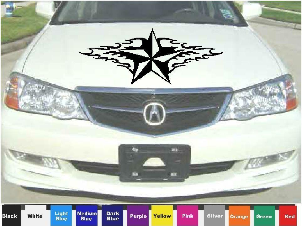 CUSTOM FLAMING NAUTICAL STAR HOOD DECAL VINYL CAR GRAPHIC - Custom vinyl decals for car hoods