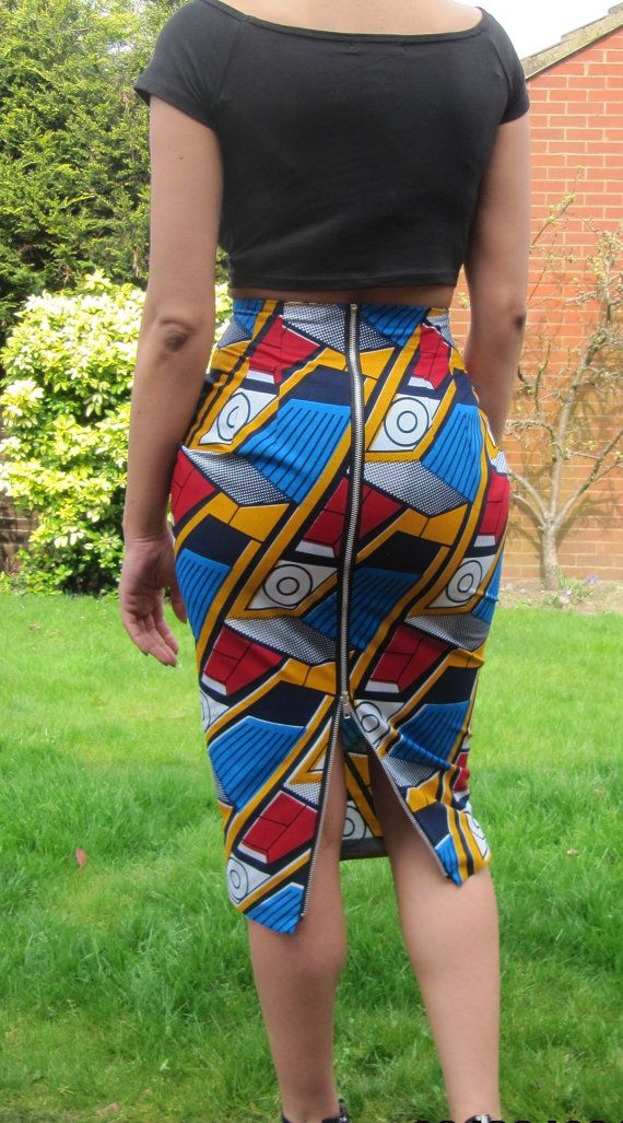 Jupe africaine impression haute cintrée long crayon par
