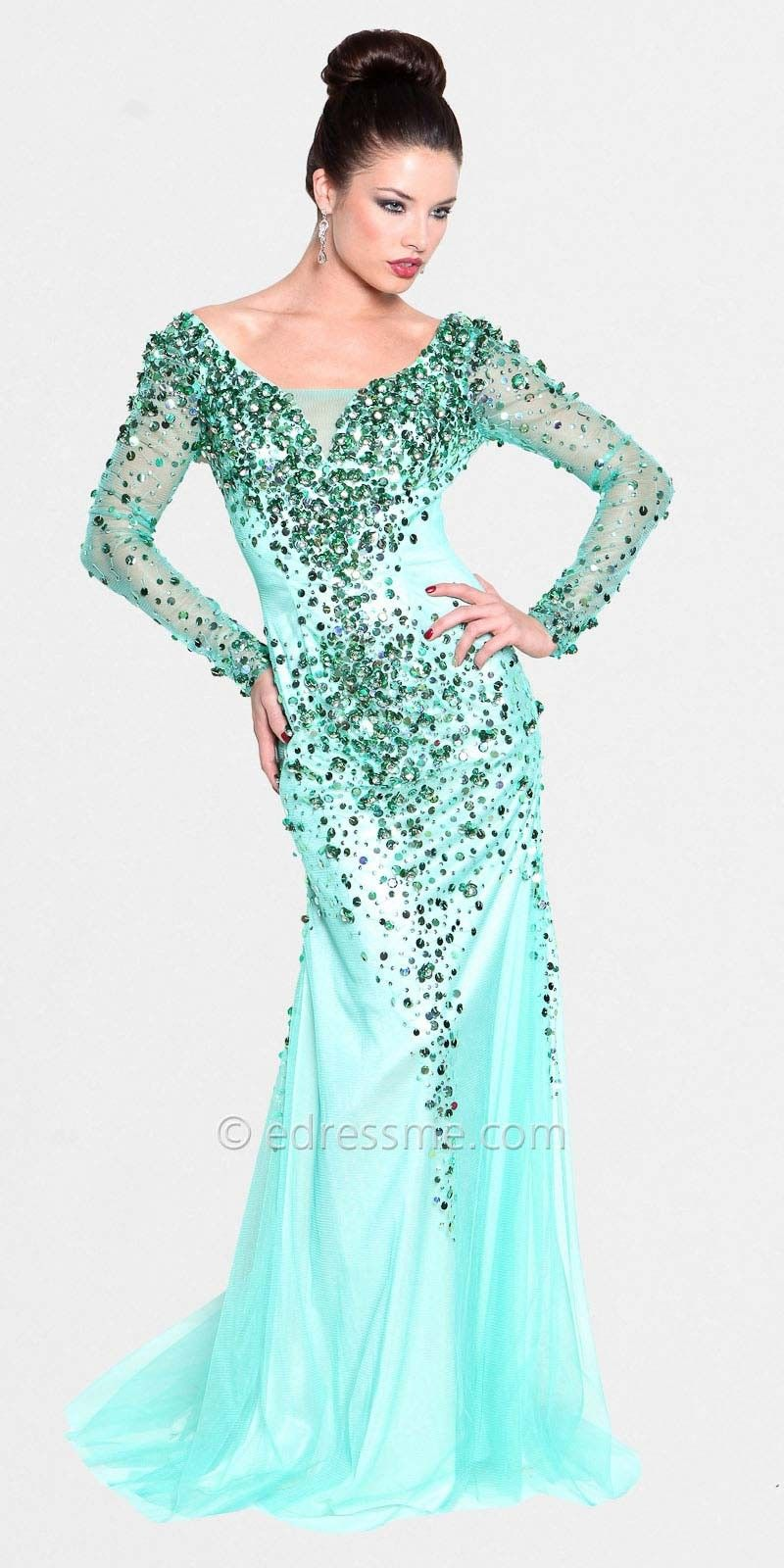 Long sleeve prom dress. I wan this in red and gold | Prom Ideas ...
