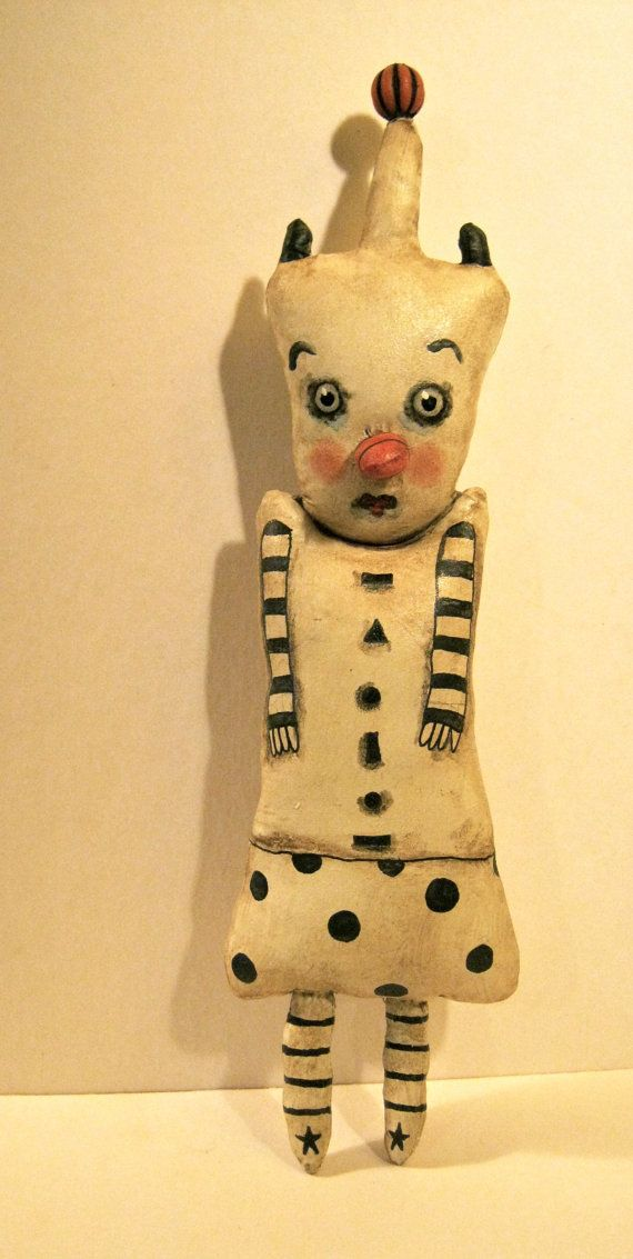Clown art doll, circus art, carnival art, whimsical, wall art doll ...