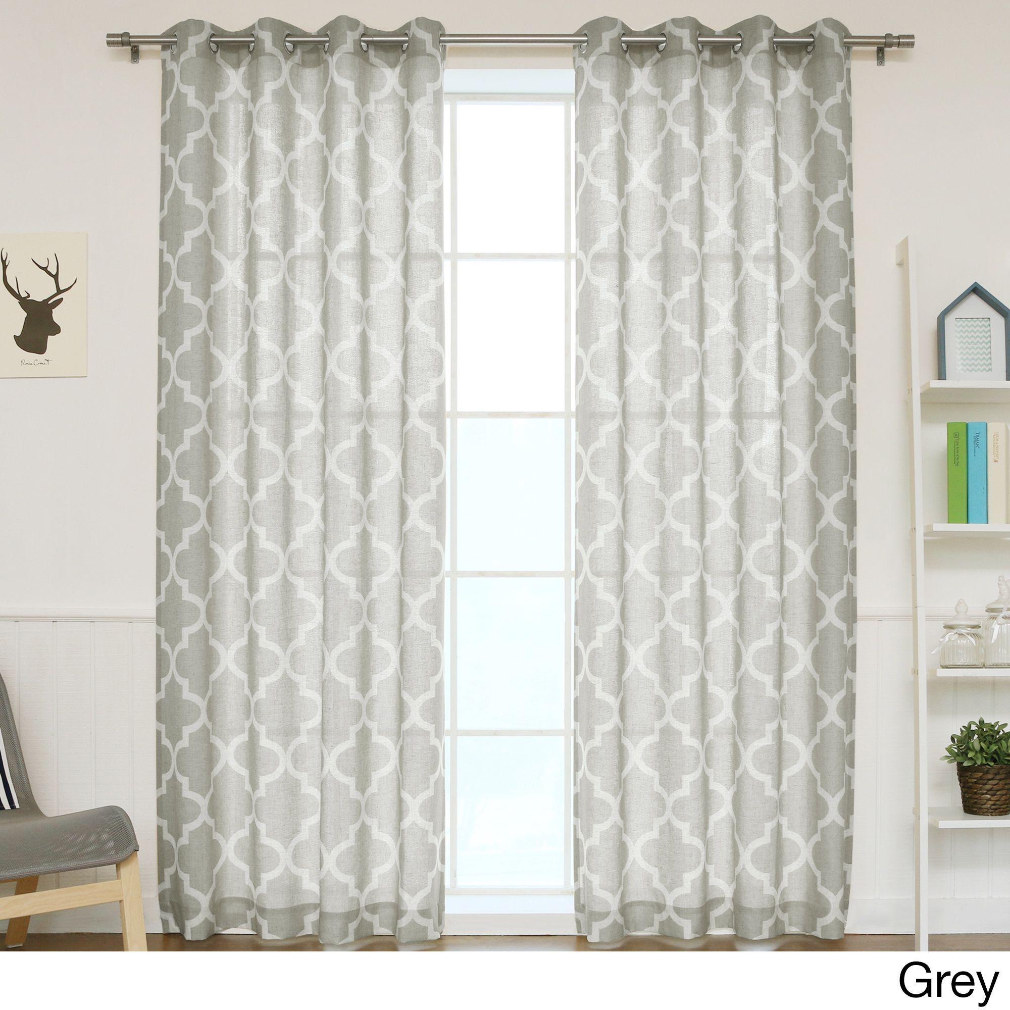 Aurora home moroccan print flax linen blend grommet top curtain