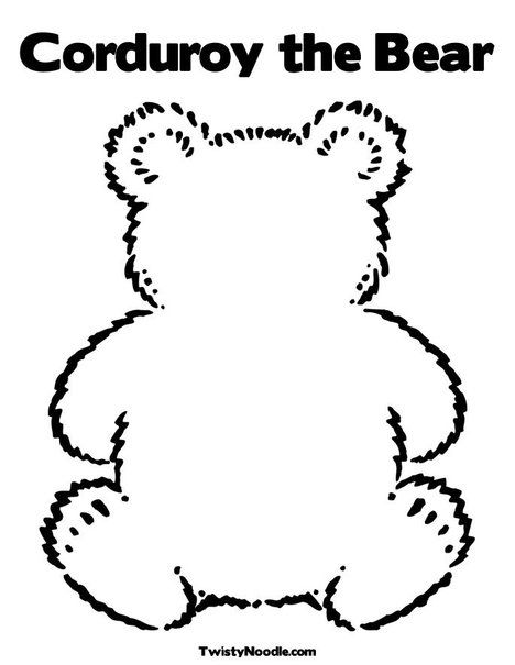 Bear outline for corduroy kids quiet books activity for Corduroy bear coloring page