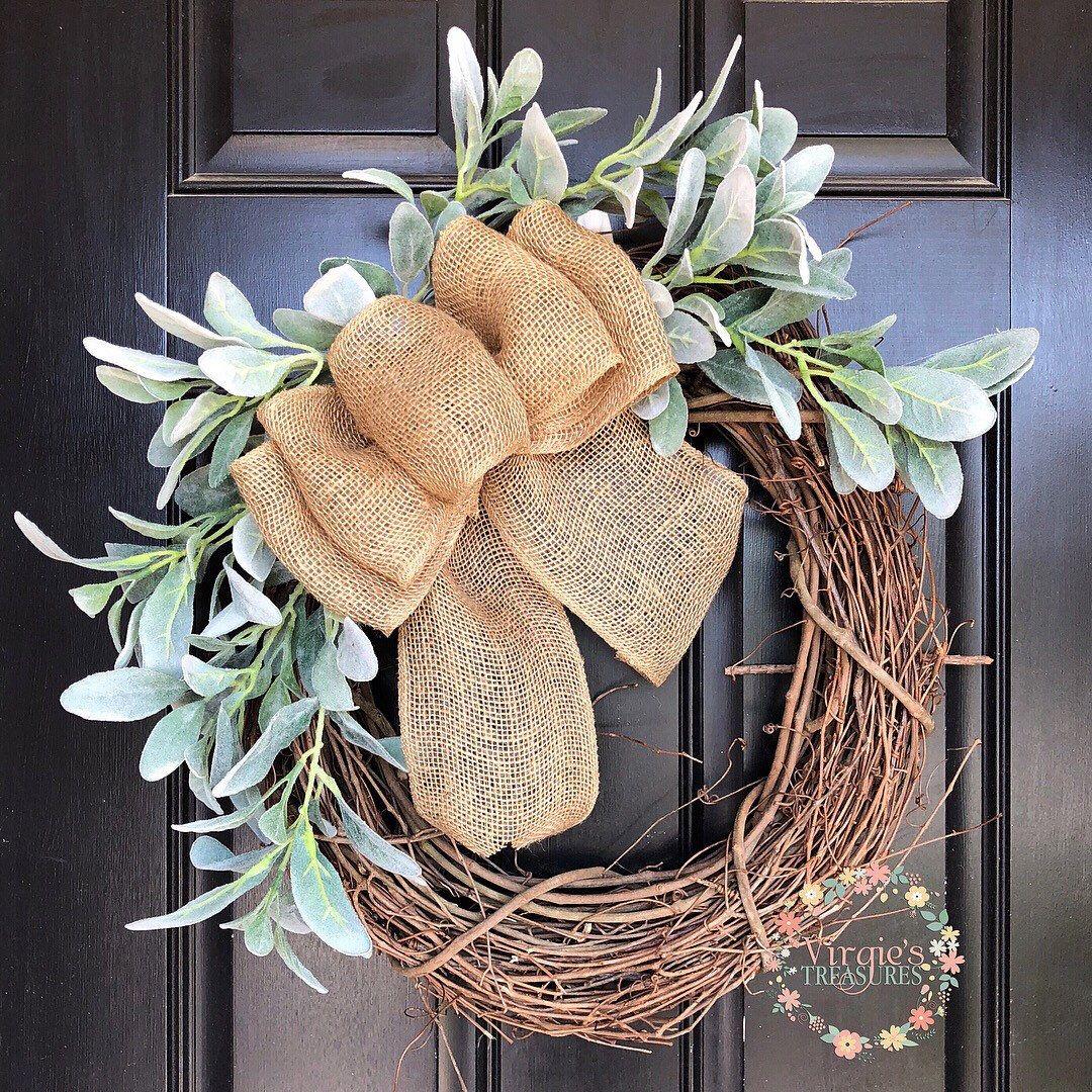 Lambs Ear Wreath, Farmhouse Wreath, Front Door Wreath